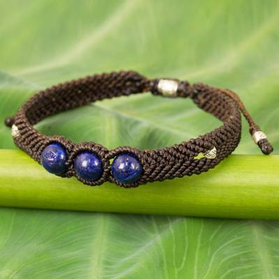 Lapis lazuli braided cord bracelet, 'The Blue Friend' - Handmade Lapis Lazuli Braided Bracelet with Silver Accent