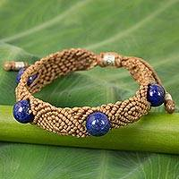 Laspis lazuli braided bracelet, 'Blue Sugar in Khaki' - Handmade Lapis Lazuli Braided Bracelet with Silver Accents