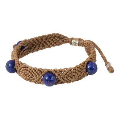 Handmade Lapis Lazuli Braided Bracelet with Silver Accents