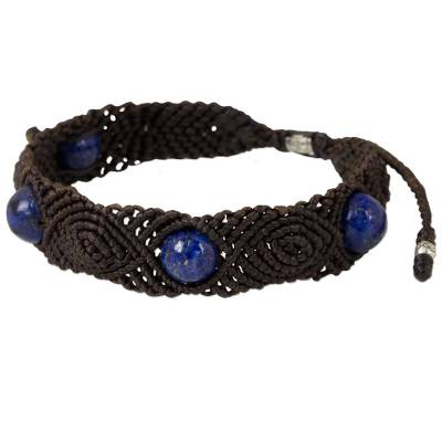 Lapis Lazuli Braided Bracelet with Silver Accents