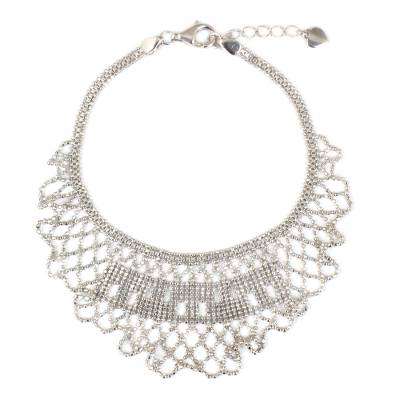 Thai Sterling Silver Adjustable Pendant Bracelet