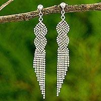 Sterling silver waterfall earrings, 'Rivers Intertwined' - Thai Waterfall Earrings Handcrafted in Polished 925 Silver