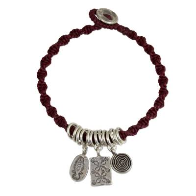 Karen Silver Charms on Artisan Crafted Wristband Bracelet