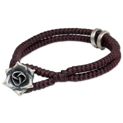 Hill Tribe Rose Clasp on Artisan Crafted Wristband Bracelet