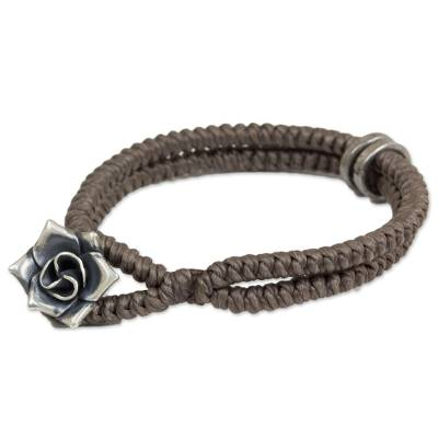 Hill Tribe Rose Clasp on Handcrafted Grey Wristband Bracelet