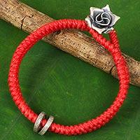 Silver flower bracelet,