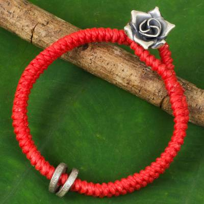 Silver flower bracelet, 'Vermillion Rose' - Hill Tribe Silver Rose Clasp on Wristband Bracelet