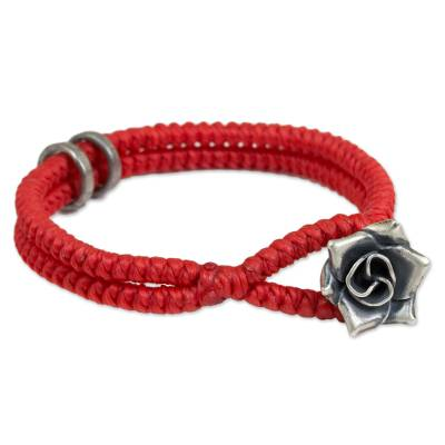 Hill Tribe Silver Rose Clasp on Wristband Bracelet