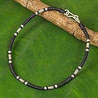 Silver anklet, 'Wandering Black' - Artisan Crafted Black Anklet with Karen Hill Tribe Silver