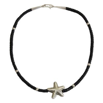 Fair Trade Fine Silver Starfish Pendant Black Knotted Cord Bracelet
