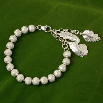 Sterling silver beaded charm bracelet, Feather Grace