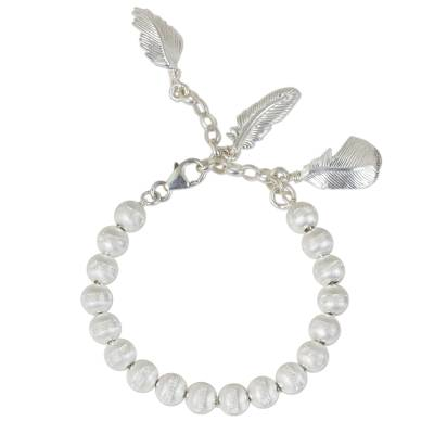 Artisan Crafted Sterling Silver Beaded Charm Bracelet