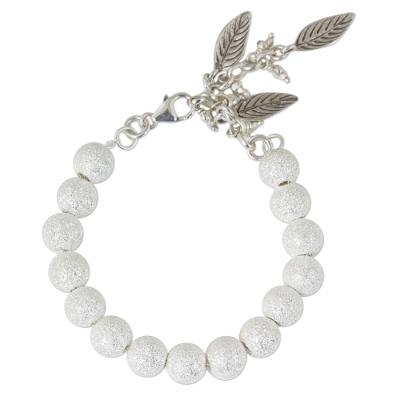 Hand Crafted Silver Beaded Bracelet with Leaf Charms