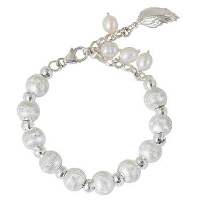 Handmade Sterling Silver and Cultured Pearl Beaded Bracelet