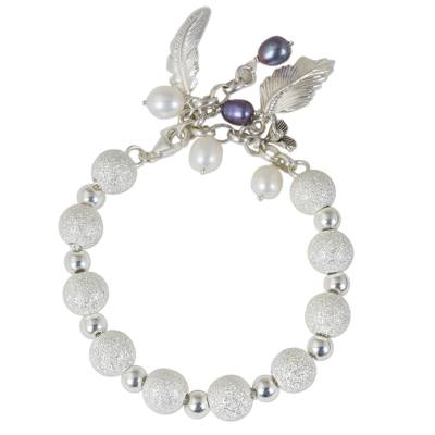 Artisan Crafted Pearl and Silver Beaded Charm Bracelet