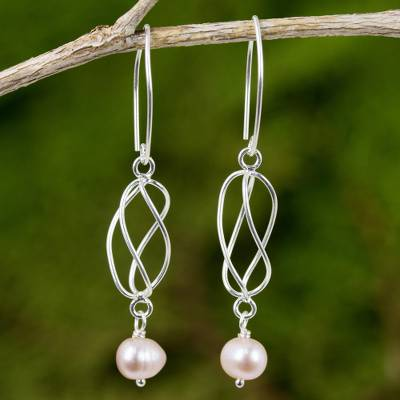 Cultured pearl and sterling silver dangle earrings, 'Soft Whisper in Pink' - Pink Cultured Pearl and Sterling Silver Dangle Earrings