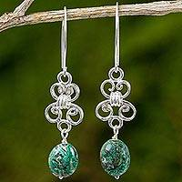 Turquoise and sterling silver dangle earrings, 'Enchanted Wind in Turquoise' - Handmade Turquoise and Sterling Silver Dangle Earrings