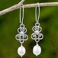 Cultured pearl and sterling silver dangle earrings, 'Enchanted Wind in White' - Hand Crafted White Pearl and Sterling Silver Dangle Earrings