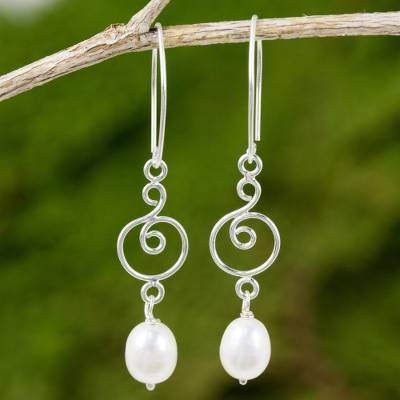 Cultured pearl and sterling silver dangle earrings, 'Morning Sweet in White' - Handmade Sterling Silver and White Pearl Dangle Earrings
