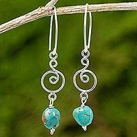 Reconstituted turquoise dangle earrings, 'Morning Sweet in Turquoise' - Reconstituted Turquoise and Sterling Silver Dangle Earrings
