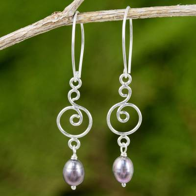 Cultured pearl and sterling silver dangle earrings, 'Morning Sweet in Grey' - Grey Pearl and Sterling Silver Earrings with Spiral Motif