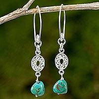 Reconstituted turquoise dangle earrings, 'Mesmerize in Turquoise' - Hand Crafted Reconstituted Turquoise Dangle Earrings