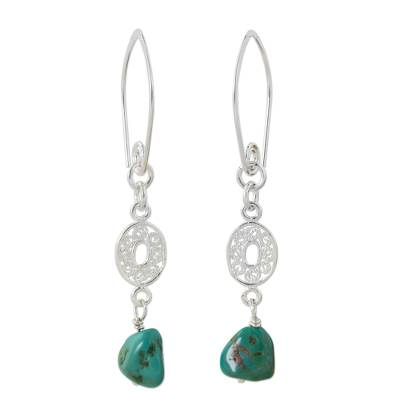 Hand Crafted Reconstituted Turquoise Dangle Earrings