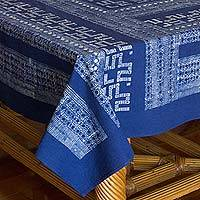 Cotton batik tablecloth, 'Graphic Hmong Lace' - Hill Tribe Artisan Crafted Blue Cotton Batik Tablecloth