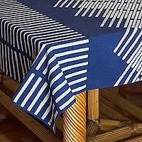 Cotton batik tablecloth, 'Blue Bamboo' (59x59) - Bamboo Motif Hill Tribe Cotton Batik Tablecloth (59x59)
