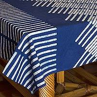 Cotton batik tablecloth, 'Blue Bamboo' (79x59 inch) - Blue Bamboo Motif Cotton Batik Tablecloth (79x59 Inch)