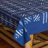 Cotton batik tablecloth, 'Hill Tribe Zigzag'  - Thai Hill Tribe Handcrafted Batik Tablecloth (59x118)