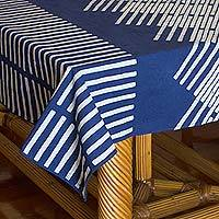 Cotton batik tablecloth, 'Blue Bamboo' (59x118) - Geometric Motif Cotton Batik Tablecloth (59x118)