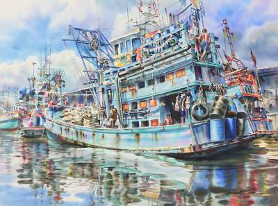 'Chaao-Lay Way of Life I' (2014) - Realistic Watercolor Painting of Thai Fishing Boats