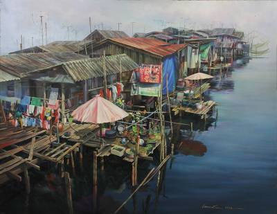 'Riverbank House' (2015) - Oil on Canvas Realistic River Scene from Thailand