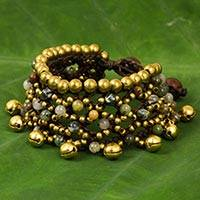 Jasper beaded wristband bracelet, 'Bohemian Voice' - Brass Bells and Jasper on Handcrafted Wristband Bracelet