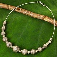 Silver statement necklace, 'Karen World' - 950 Silver Necklace Karen Hill Tribe Style Thai Jewelry