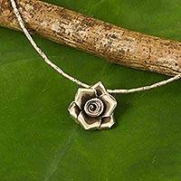 Silver pendant necklace, 'Luminous Rose' - Hand Crafted Silver Necklace with Rose Pendant from Thailand
