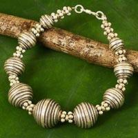 Silver statement bracelet, 'Karen World' - 950 Silver Bracelet Karen Hill Tribe Style Thai Jewelry