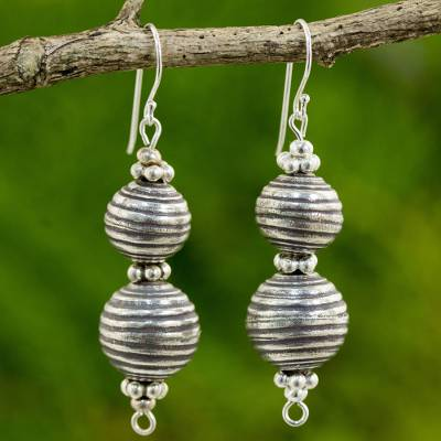 Silver dangle earrings, 'Karen Globe' - Artisan Crafted Silver Dangle Earrings from Thailand
