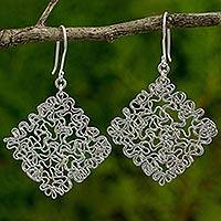 Sterling silver dangle earrings, 'Freedom Square' - Hand Crafted Abstract Sterling Silver Dangle Earrings