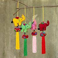 Cotton ornaments, 'Happy Siam Elephants' (set of 4) - Artisan Crafted Multicolor Thai Cotton 4 Elephant Ornaments
