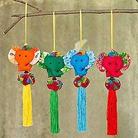 Cotton ornaments, 'Happy Thai Elephants' (set of 4) - 4 Artisan Crafted Multicolor Thai Cotton Elephant Ornaments