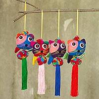 Cotton ornaments, 'Happy Thai Cats' (set of 4) - 4 Hand Crafted Multicolor Cats and Brass Bells Ornaments