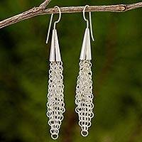 Sterling silver dangle earrings, 'Chain Mail Lily' - Artisan Crafted Chain Mail Style 925 Silver Earrings