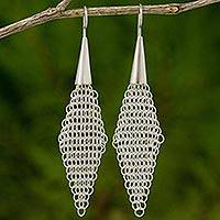 Sterling silver dangle earrings, 'Chain Mail Tulip Buds' - Modern Design Fair Trade Earrings in Thai Sterling Silver