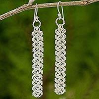 Sterling silver dangle earrings, 'Helix Columns' (Thailand)