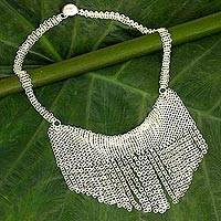 Sterling silver statement necklace, 'Moonlight Waterfall' - Sterling Silver Cascade Statement Necklace from Thailand
