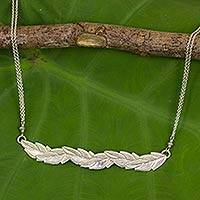 Sterling silver pendant necklace, 'Leaves in Frost' - Frosted Sterling Silver Leaf Necklace from Thailand