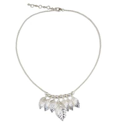 Thai Sterling Silver Leaf Theme Waterfall Necklace