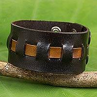 Men's leather band bracelet, 'New Pathways' - Artisan Crafted Leather Band Bracelet in Brown and Tan